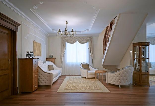 린넨면 소파, 안락 의자 및 오크 가구가 비치 된 라운지입니다.