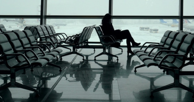 Lounge with passengers in vnukovo airport moscow