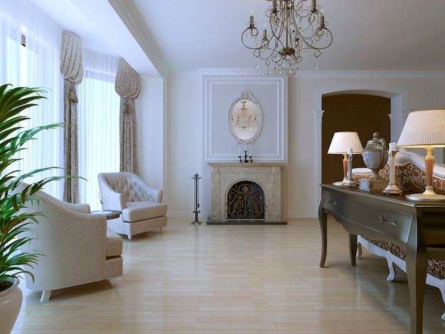 Lounge with two armchair and fireplace in neoclassical style with using of light parquet flooring