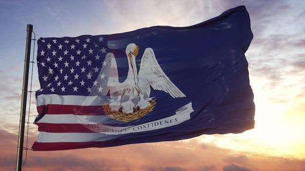 깃대에 루이지애나와 미국 국기입니다. 바람에 물결 치는 미국 및 루이지애나 혼합 깃발