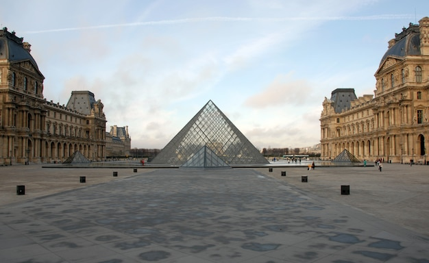 Louvre museum in paris in a sunny day