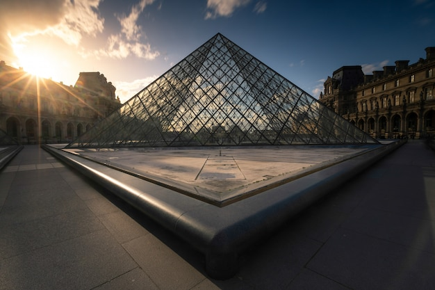 Louvre museum pyramid at the city center of paris