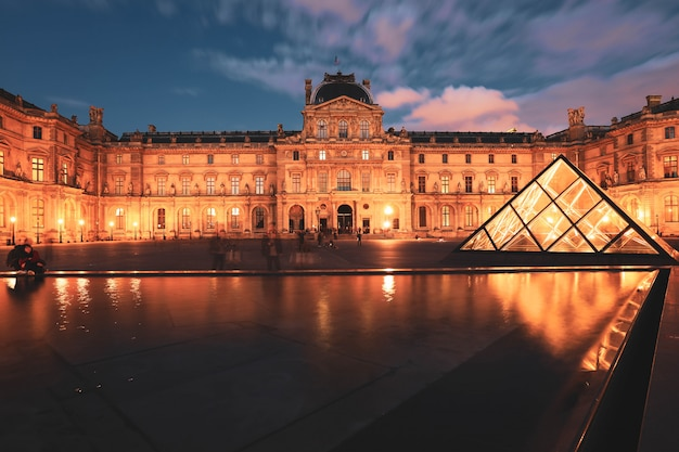 Louvre museum at twilight in winter, this is one of the most popular landmark in paris