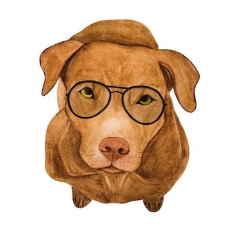 愛らしい、かわいいベージュの子犬。美しい水彩画。