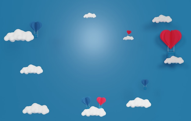 사랑과 푸른 하늘과 흰 구름에 떠있는 마음. 분홍색 선물 상자, 해피 발렌타인 데이. 사랑 축하 개념입니다.
