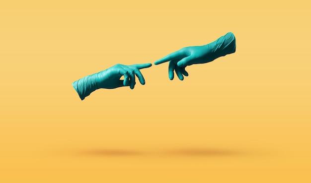 코로나 바이러스 개념 동안의 사랑과 관계. 의료용 장갑을 든 두 손은 더 가까이 다가가려고합니다. 화려한 팝 컬러 배경 위에 떠있는