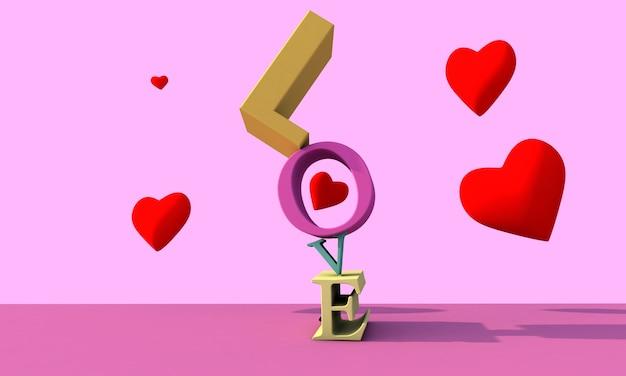 Любовь фона 3d визуализации. красочный фон дня святого валентина
