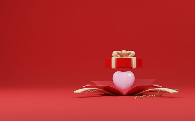 Love balloon in the gift box opened valentine's day design concept - 3d rendering
