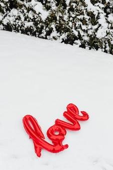 Love balloon in the snow