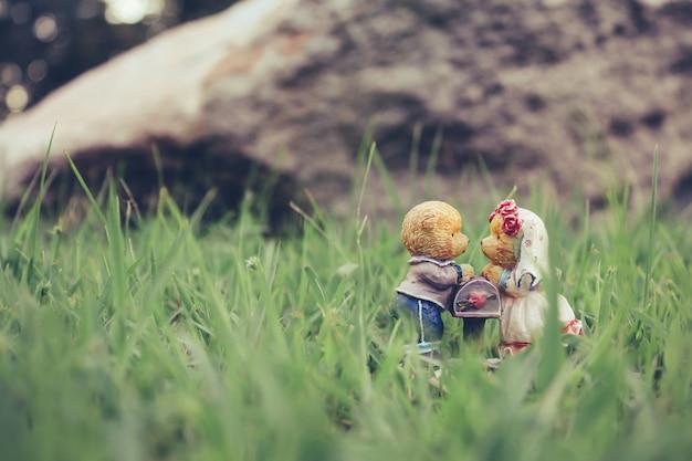 Love between bear dolls