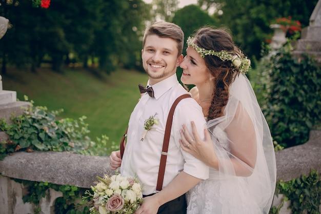 In love bride looking at her groom