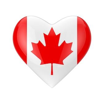 カナダのコンセプトが大好きです。白い背景の上のハートの形のカナダの旗3dレンダリング