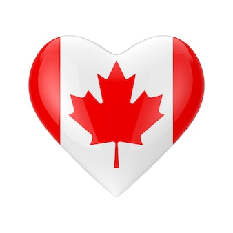 Love canada concept. canada flag in shape of heart on a white background 3d rendering