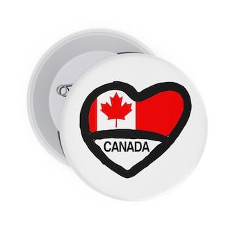 カナダのコンセプトが大好きです。ハート、カナダの旗と白い背景の上のサインと白いピンバッジ。 3dレンダリング