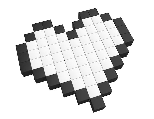 愛の概念。白い背景の上の3dピクセルハート