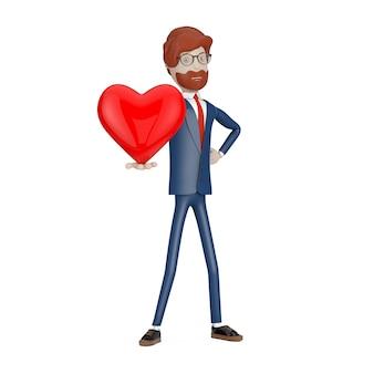愛の概念。白い背景の手に赤いハートを持つ漫画のキャラクターの実業家。 3dレンダリング