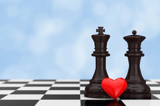 Концепция любви. фигуры шахматного короля и королевы с красным сердцем над шахматной доской на синем фоне. 3d рендеринг
