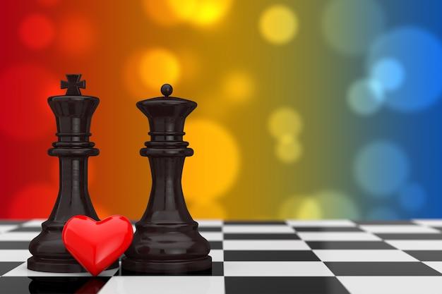 Концепция любви. фигурки шахматного короля и королевы с красным сердцем над шахматной доской на разноцветном фоне. 3d рендеринг