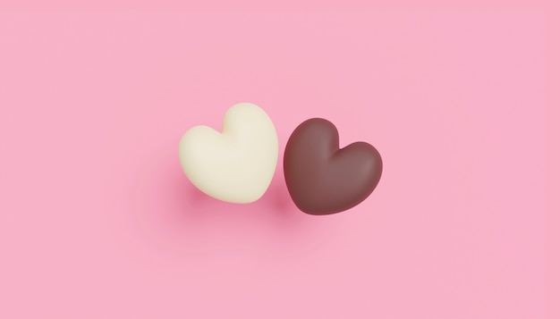 Love concept design of chocolate hearts on pink paper background with copy space 3d render