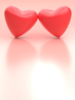 사랑 개념. 빈 배경으로 누르면 두 마음