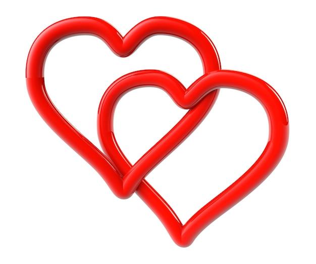 Концепция любви. два красных сердца как кольцо на белом фоне