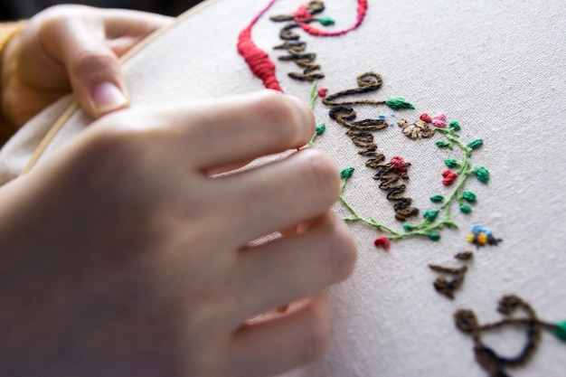 Love concept of young woman hands are embroidered happy valentines day