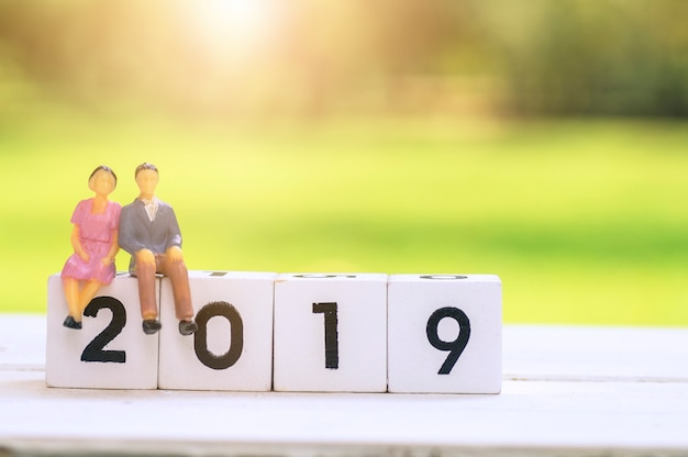 Love couple cartoon sitting on wood block with 2019,