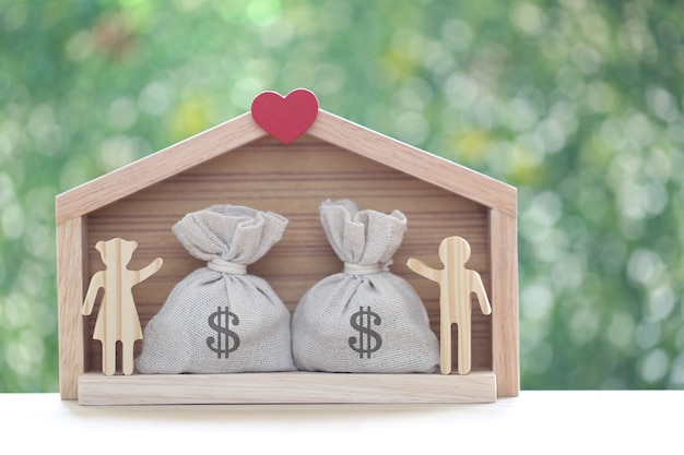 Love couple with model house and coins money in the bag on green background