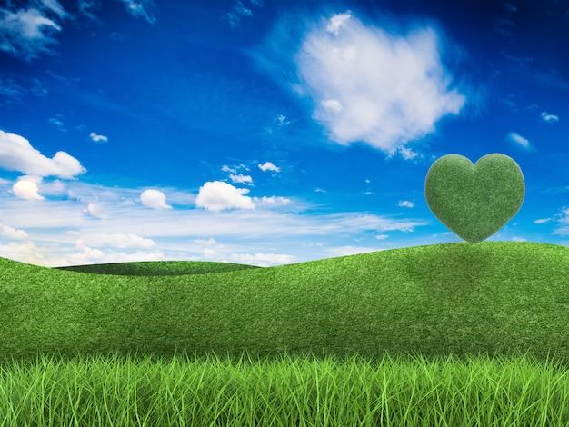 Концепция любви земля с 3d визуализированным деревом в форме сердца, зеленым полем и голубым небом