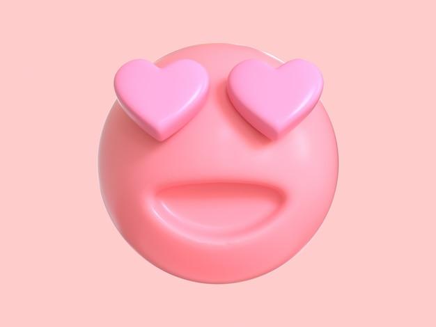 Love emotion cartoon character pink emoji 3d render