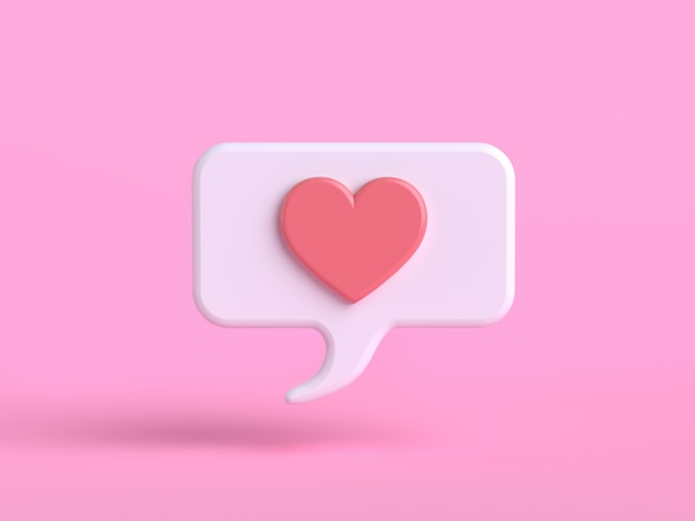 Love emotion cartoon character pink emoji 3d render