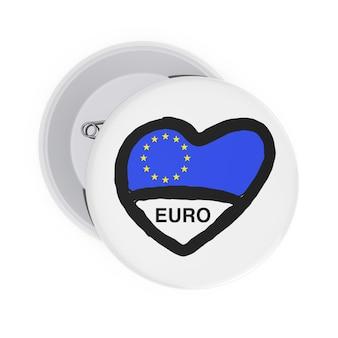 Любовь концепции европейского союза. белые значки булавки с сердцем, флагом европейского союза и подписать на белом фоне. 3d рендеринг