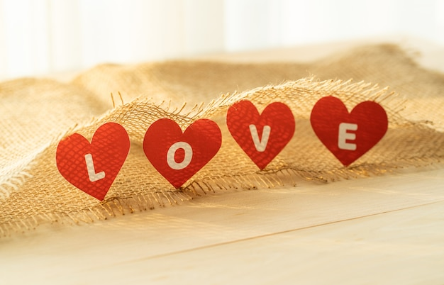 Love four red heart with sack
