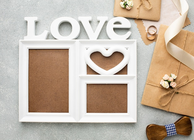 Love frame copy space wedding beauty concept