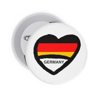 Концепция любви германии. белые значки булавки с сердцем, флагом германии и подписать на белом фоне. 3d рендеринг
