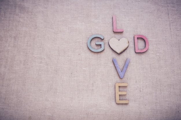 Love god wooden words