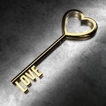Love - golden key on black metallic background. 3d rendering