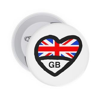 Концепция любви великобритании. белые значки булавки с сердцем, флаг великобритании и знак на белом фоне. 3d рендеринг