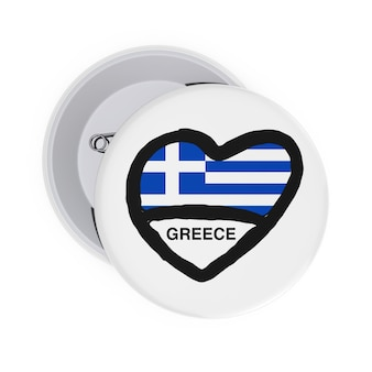 Любовь концепции греции. белые значки булавки с сердцем, флагом греции и подписать на белом фоне. 3d рендеринг