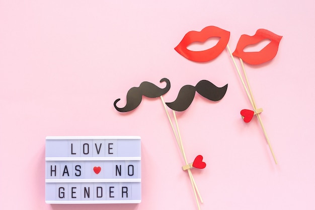 Love has no gender, couple paper mustache lips props. concept homosexuality gay love