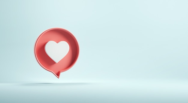 Love or heart icon on blue background