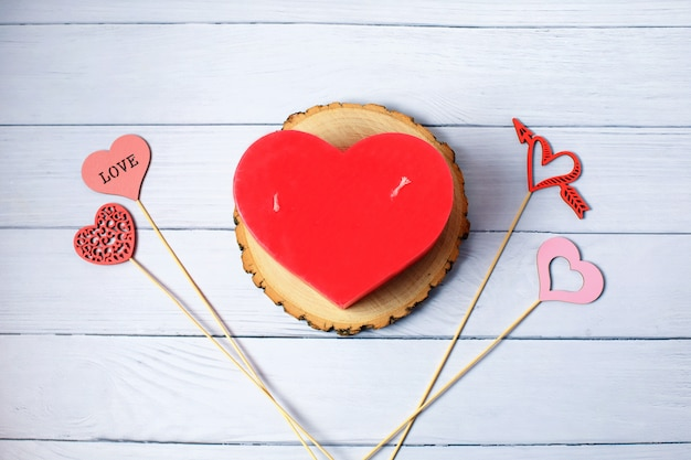 Love hearts, candle. valentine's day celebration concept. top view. flat lay.