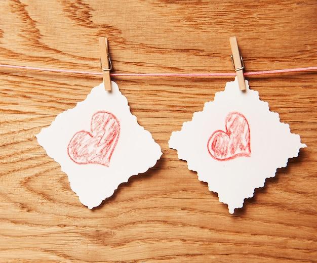 나무 질감 배경, 발렌타인 데이 카드 개념에 마음을 사랑