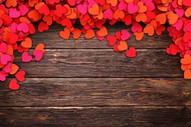 Love hearts on vintage wooden background. 3d rendering illustration