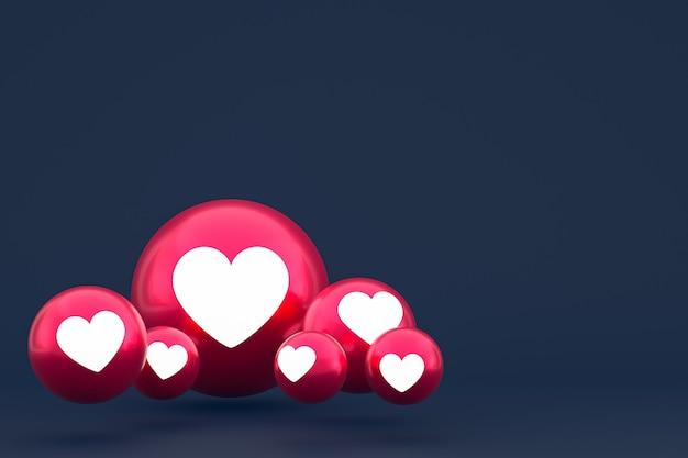Значок любви facebook реакции смайликов 3d визуализации, символ воздушного шара в социальных сетях на синем