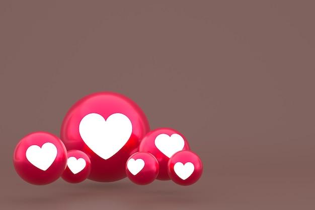 Значок любви facebook реакции смайликов 3d визуализации, символ воздушного шара в социальных сетях на коричневом фоне