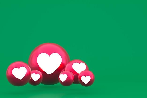 Значок любви facebook реакции смайликов 3d визуализации, символ шара в социальных сетях на зеленом фоне