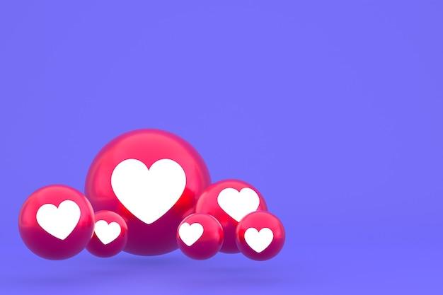 Значок любви facebook реакции смайликов 3d визуализации, символ воздушного шара в социальных сетях на фиолетовом фоне