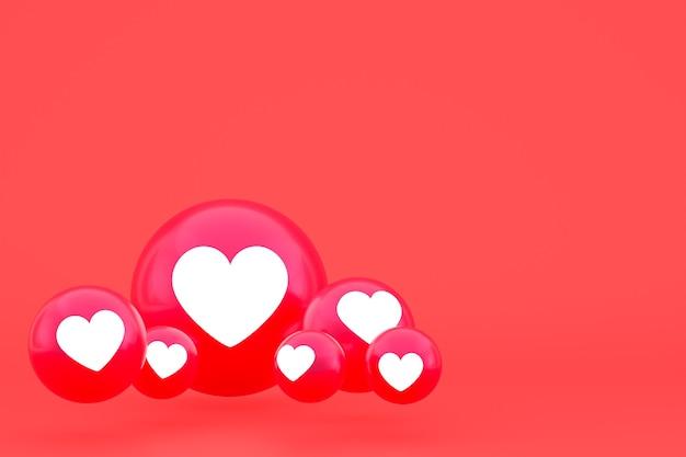 Значок любви facebook реакции смайликов 3d визуализации, символ воздушного шара в социальных сетях на красном фоне