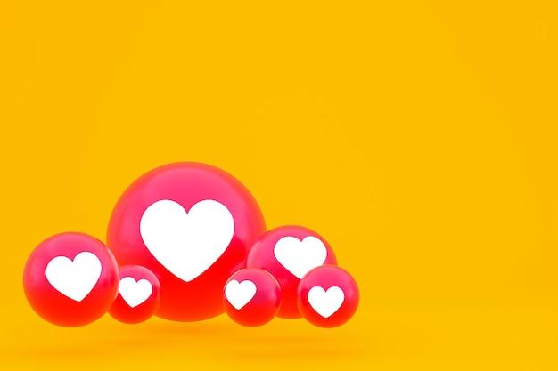Значок любви facebook реакции смайликов 3d визуализации, символ воздушного шара в социальных сетях на желтом фоне